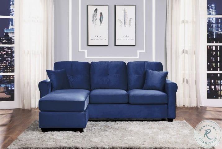 Monty Blue Velvet Reversible Chaise Sectional