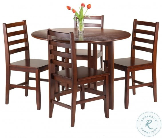 Alamo Walnut 5 Piece Extendable Round Drop Leaf Dining Set with 4 Hamilton Ladder Back Chairs
