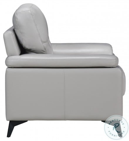 Mischa Silver Gray Leather Living Room Set