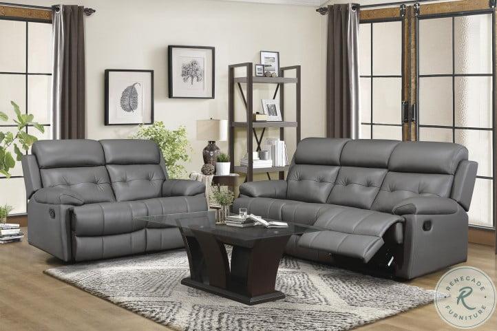 Lambent Dark Gray Leather Double Reclining Loveseat