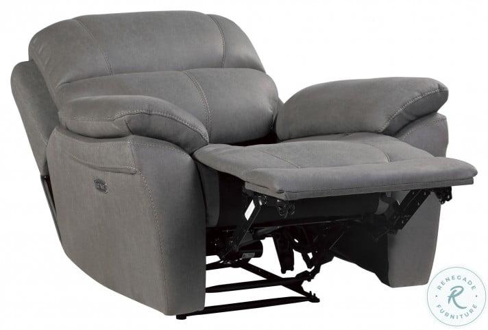 Longvale Gray Power Recliner With Power Headrest