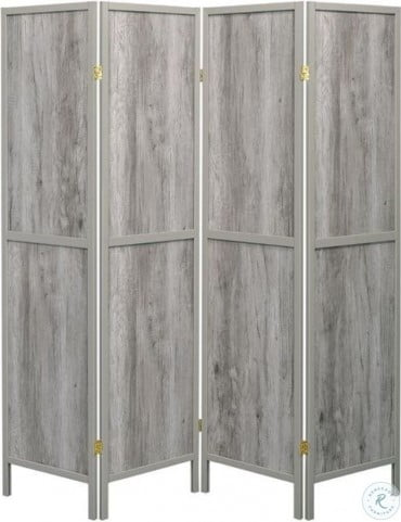 961415 Gray Driftwood 4 Panel Folding Screen