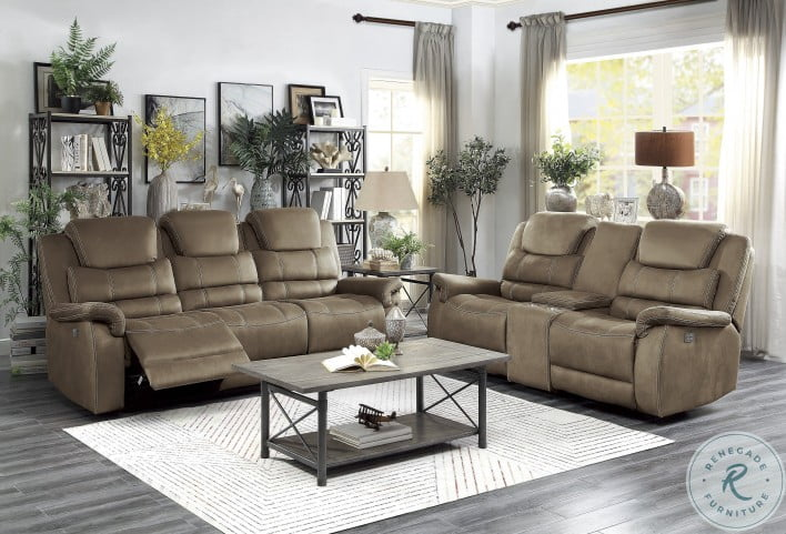 Shola Brown Power Double Reclining Power Headrest Living Room Sets