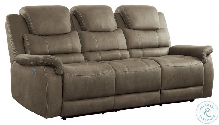 Shola Brown Power Double Reclining Sofa With Power Headrests