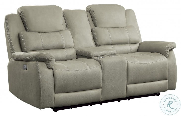 Shola Gray Power Double Reclining Loveseat With Center Console And Power Headrests