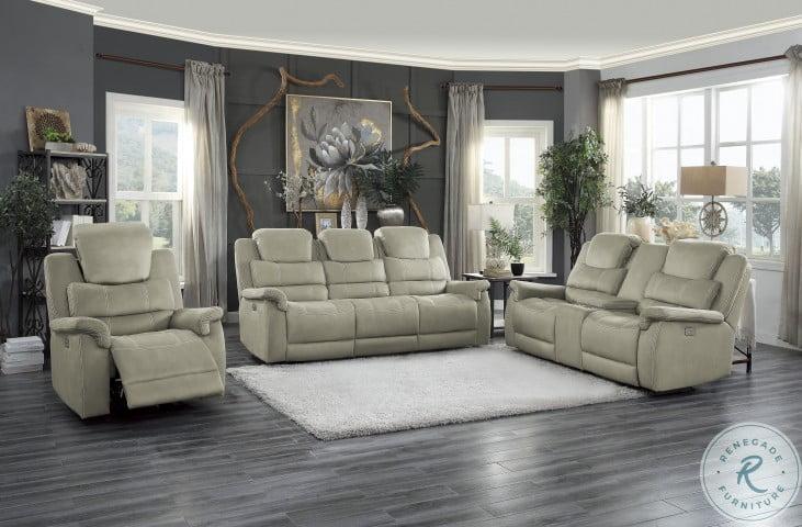 Shola Gray Power Double Reclining Power Headrest Living Room Sets