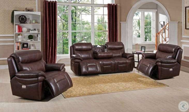 Summerlands II Brown Leather Adjustable Headrest Power Reclining Living Room Set with Dropdown Table