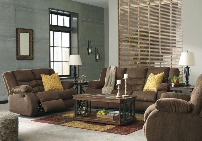 Tulen Chocolate Reclining Living Room Set