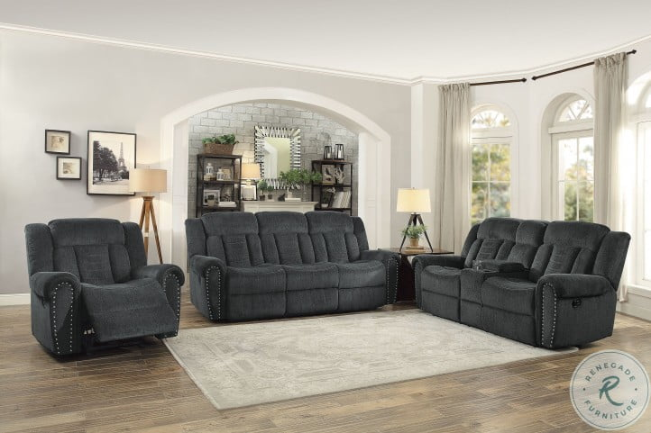 Nutmeg Charcoal Gray Double Reclining Living Room Set