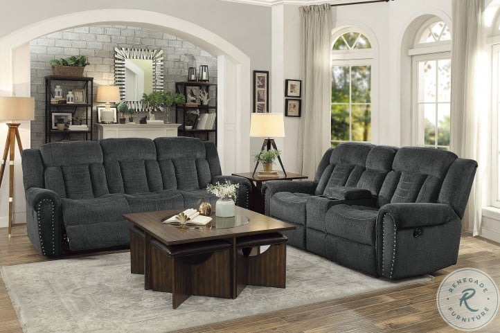 Nutmeg Charcoal Gray Double Reclining Loveseat with Center Console