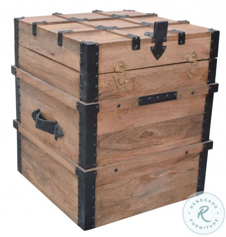 """Vacation Burnished Natural 20"""" Storage Trunk"""