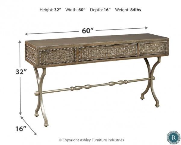 Quinnland Antique Black Console Sofa Table