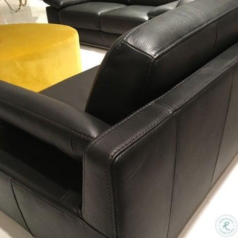 Alexandra Black Leather Living Room Set