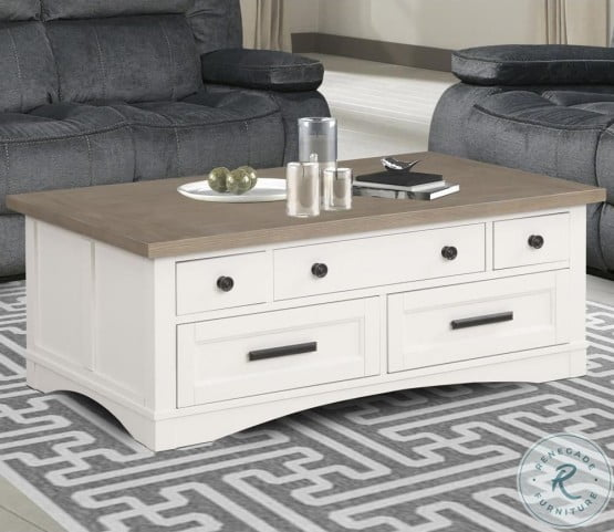 Americana Modern Cotton Cocktail Table With Lift Top