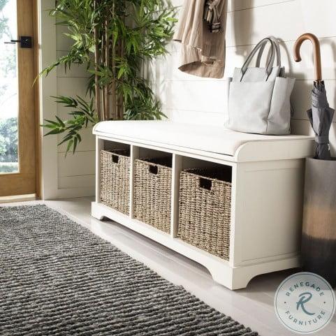 Lonan White Wicker Storage Bench
