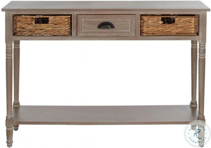 Christa Vintage White Storage Console Table
