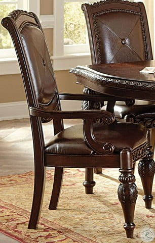 Antoinette Warm Brown Cherry Arm Chair Set of 2