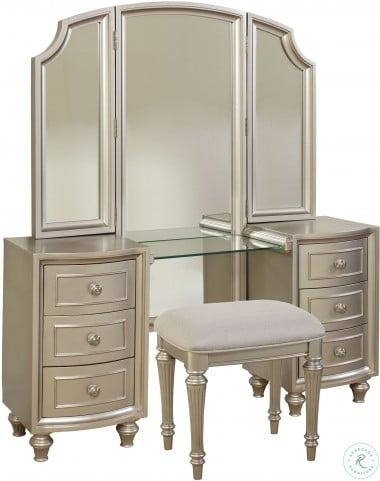 Regency Park Pearlized Silver Vanity Desk with Mirror