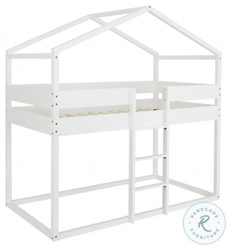 Flannibrook White Twin Over Twin House Loft Bed