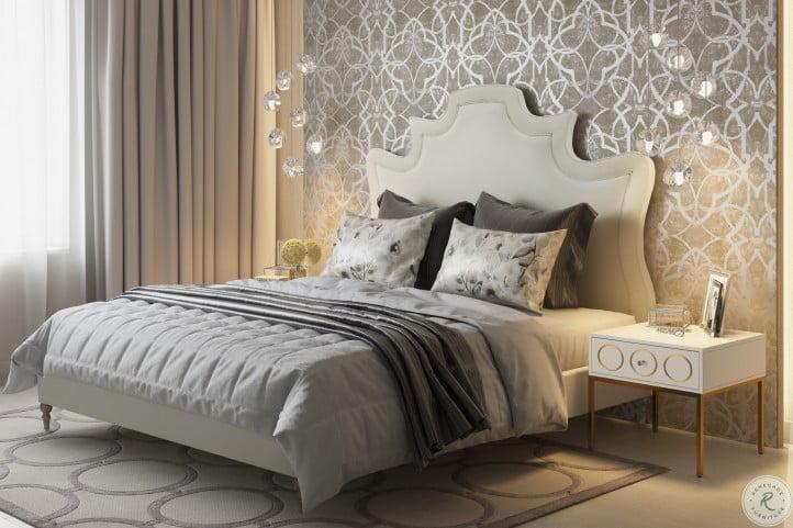 Serenity Cream Velvet King Upholstered Platform Bed