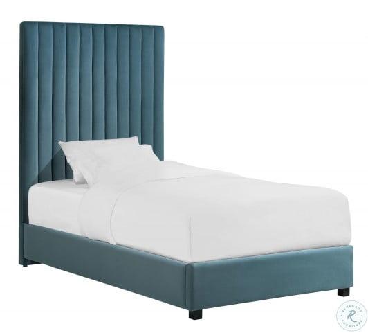 Arabelle Sea Blue Twin Upholstered Platform Bed