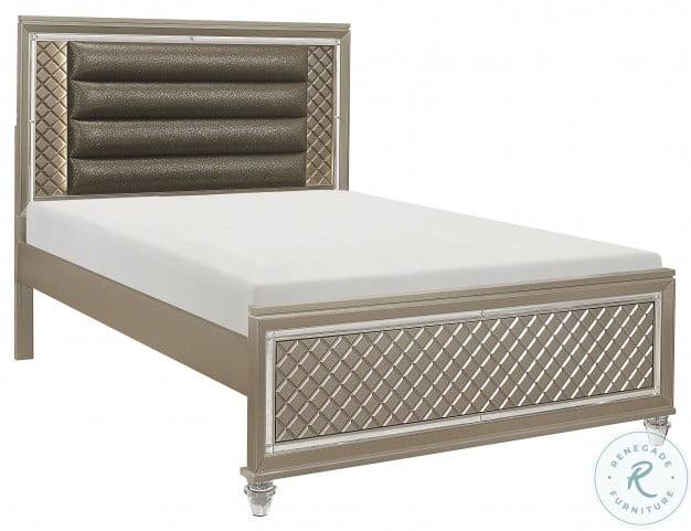 Loudon Champagne Metallic Full Platform Bed