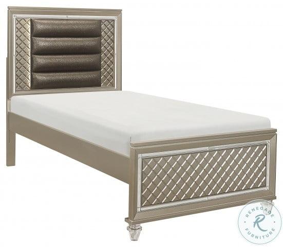 Loudon Champagne Metallic Twin Platform Bed
