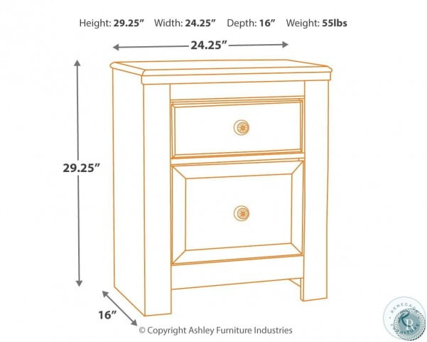 Paxberry Whitewash Two Drawer Nightstand