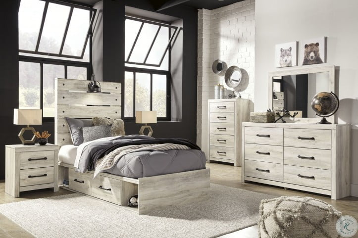 Cambeck Whitewash Youth Panel Bedroom Set with Underbed Storage