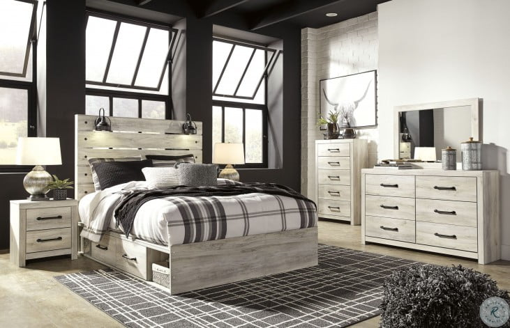 Cambeck Whitewash Queen Panel Bed with One Side Storage