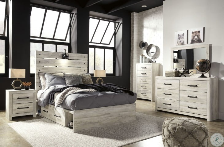 Cambeck Whitewash Full Panel Bed with One Side Storage