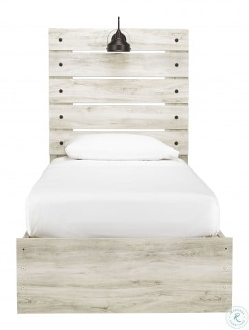 Cambeck Whitewash Twin Panel Bed with One Side Storage