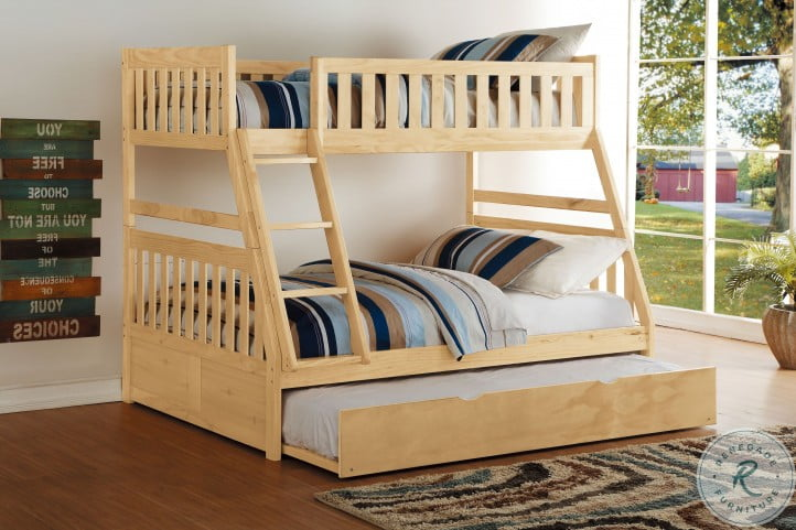 Bartly Natural Pine Youth Bunk Bedroom Set With Youth Trundle