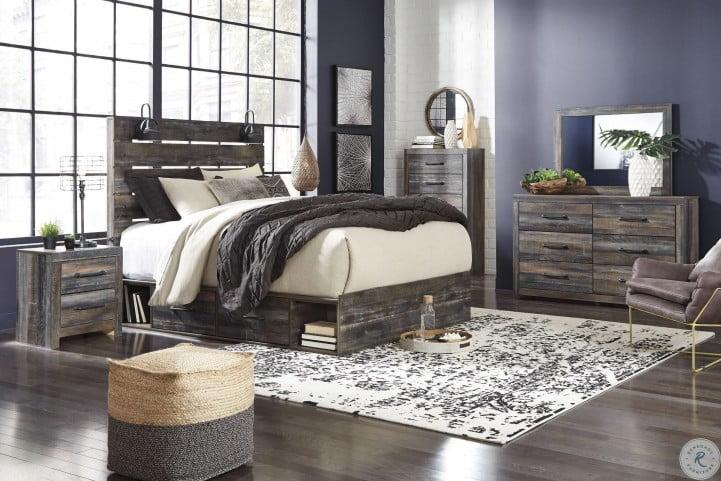 Drystan Multi Panel Bedroom Set with One Side Storage