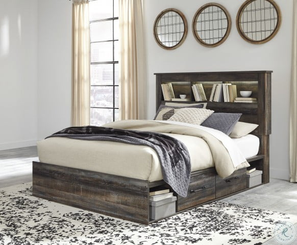 Drystan Multi Queen Bookcase Platform Bed with Double Underbed Storage