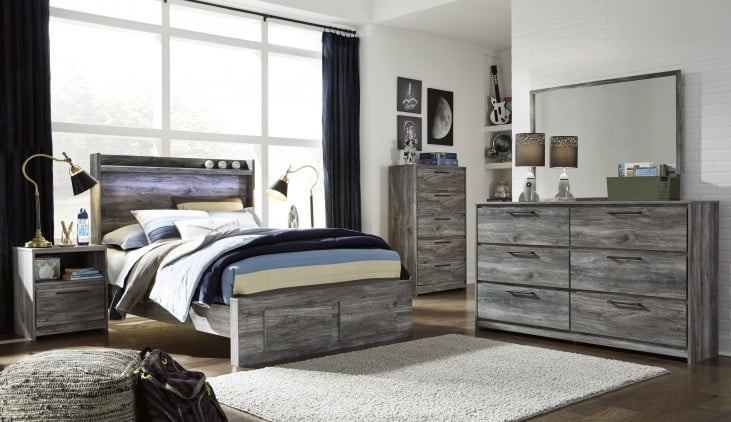 Baystorm Gray Full Single Underbed Storage Platform Bed