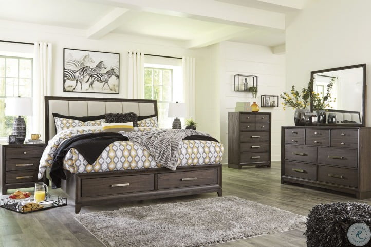 Brueban Gray Panel Storage Bedroom Set