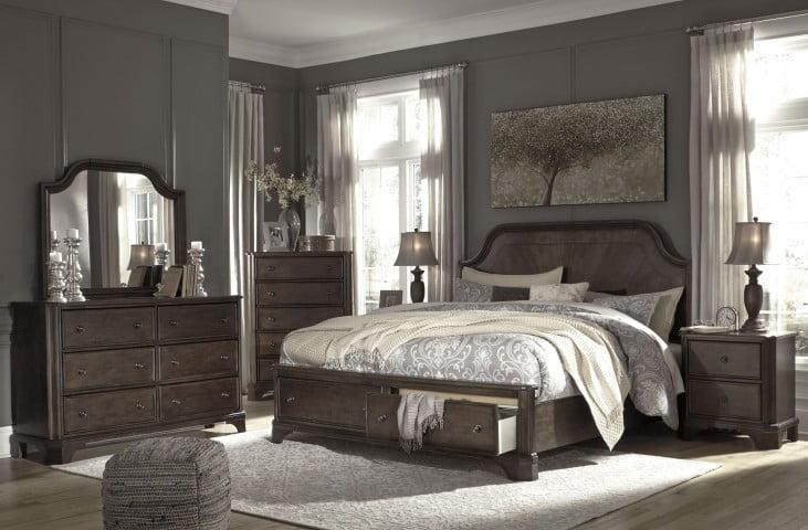 Adinton Reddish Brown King Panel Storage Bed