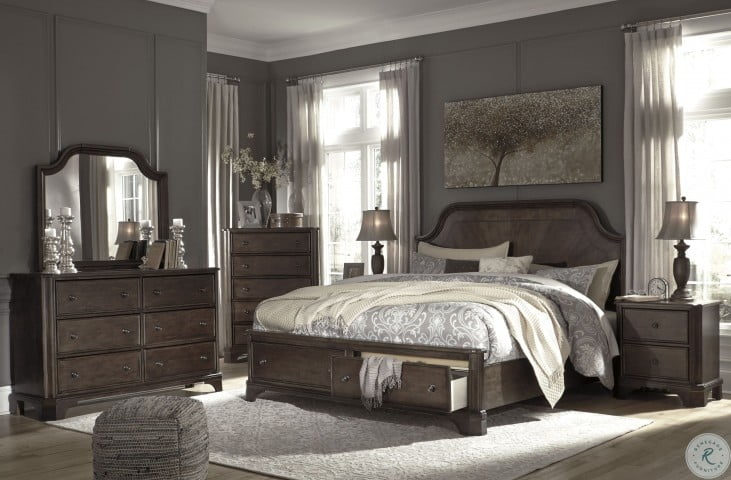 Adinton Reddish Brown Queen Panel Storage Bed