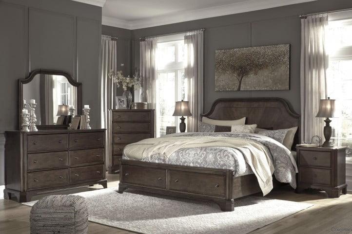 Adinton Reddish Brown Panel Storage Bedroom Set