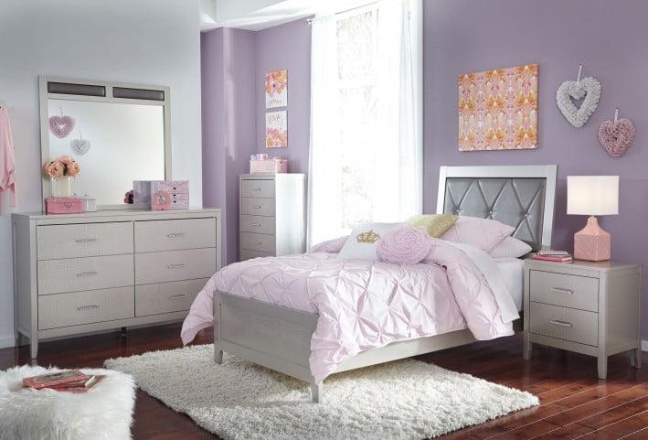 Olivet Silver Youth Upholstered Panel Bedroom Set