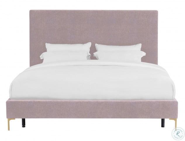 Delilah Blush Textured Velvet Queen Upholstered Platform Bed