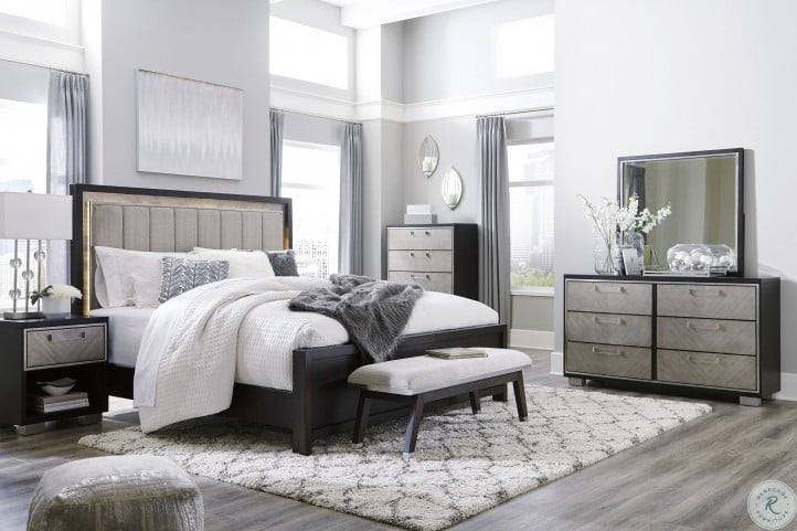 Maretto Two Tone Cal. King Upholstered Panel Bed