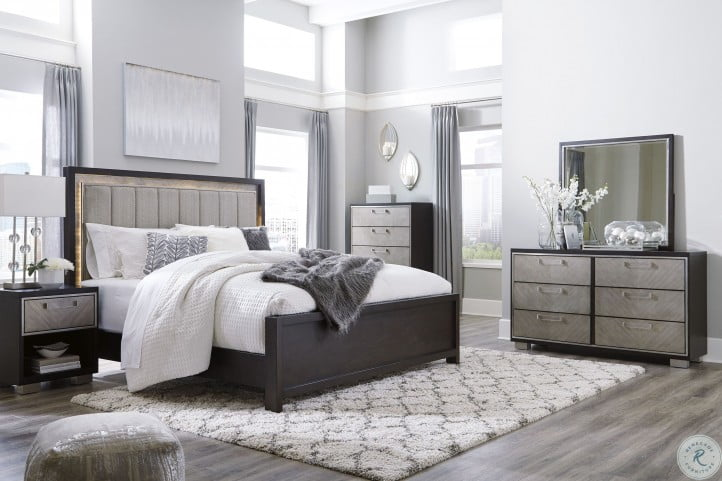 Maretto Brown and Silver Upholstered Panel Bedroom Set