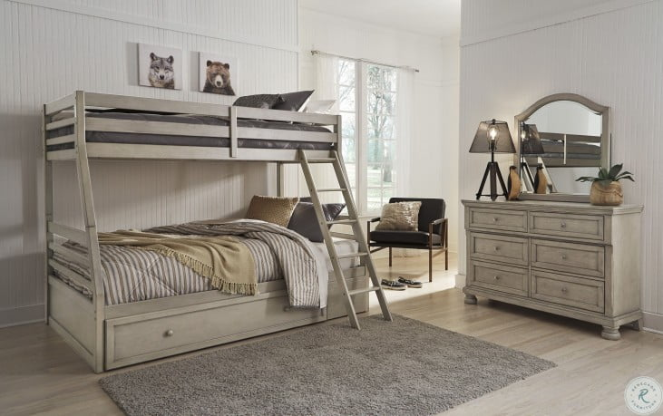 Lettner Light Gray Twin Over Full Bunk Bed With Under Storage