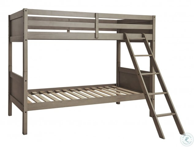 Lettner Light Gray Twin Over Twin Bunk Bed With Ladder