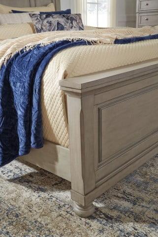 Lettner Light Gray King Sleigh Storage Bed
