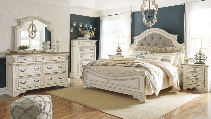 Realyn Chipped Two Tone Queen Upholstered Panel Bed