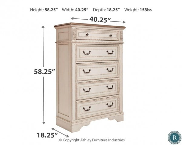Realyn Chipped Two Tone 5 Drawer Chest