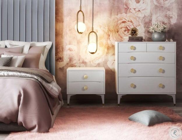 Arabelle Grey Queen Upholstered Platform Bed